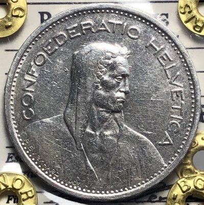 Svizzera 5 Franchi 1952 Berna Ag. ...